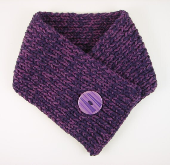 Sale: Purple Cowl with Big Button- Child Sized