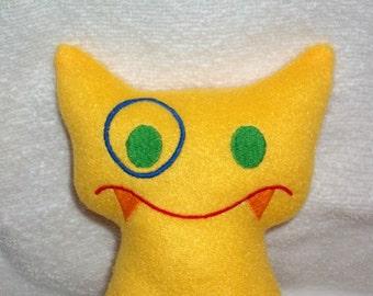 Handmade Stuffed Big Bright Yellow Snaggle Fanged Monster - Fleece, Child Friendly