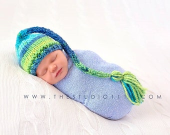 Knit Newborn Elf Hat, Baby Elf Hat, Baby Boy Elf Hat, Knit Baby Hat, Newborn Stocking Hat, Preemie - 12 Months, Newborn Photo Prop