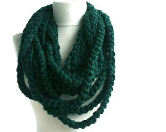 Bulky scarf infinity chain scarf crochet circle scarf neckwarmer in dark green