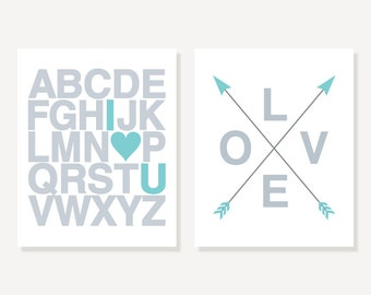 I Love You Alphabet Print with Love in Crossed Arrows - Nursery Decor Silver & Turquoise Pair 2 Poster Set