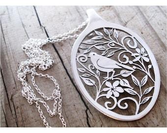 Folk Art Statement ooak spoon necklace Eco spoon pendant Love Dove filigree floral pierced spoon pendant Boho long sterling chain hand cut