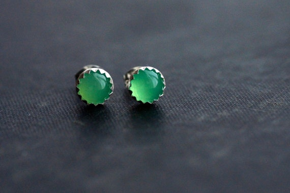 Green Chrysoprase on Sterling Silver Studs - Semi Precious Gemstone