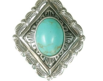 Sale| Turquoise Concho Pendant - Clip On Interchangeable Magnetic Pendant - Stamped Western Diamond Magnetic Pendant - Cowgirl Pendant - Sou