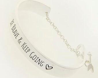 Be Brave Bracelet, Stamped Bracelet, Motivational Bracelet, Breast Cancer Awareness  Bracelet, Inspiration Bracelet, Hand Stamped