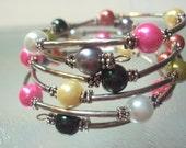 Multi Color Memory Wire Pearl Bracelet
