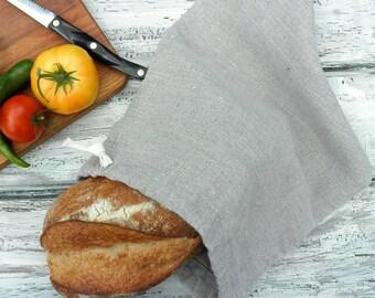 Natural Linen Bread Bag, Bread Bag, Long Loaf, Reusable Bread Keeper, 100% Flax Linen