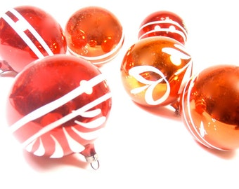 Glass Christmas Ornaments - Set of 6