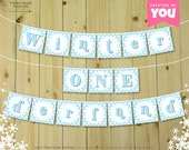 Blue Winter ONEderland Banner - DIY Printable 1st Birthday Banner // Print at Home Birthday Bunting // First Birthday - Instant Download