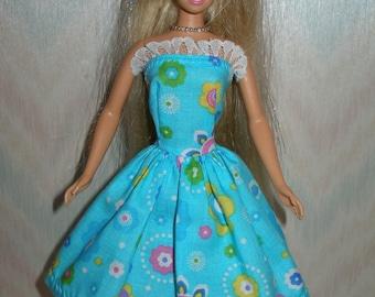 Handmade Barbie doll clothes - blue floral print dress