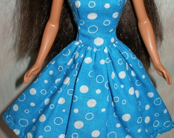 "Handmade 11.5"" fashion doll clothes - blue and white dot print dress"