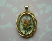 Vintage 1980's Pansy Pendant