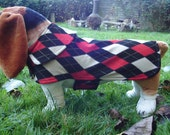 Dog Jacket -  Black Tan and Red Argyle Knit Fabric Dog Coat- Size Medium- 16 to 18  Inch Back Length - Or Custom Size