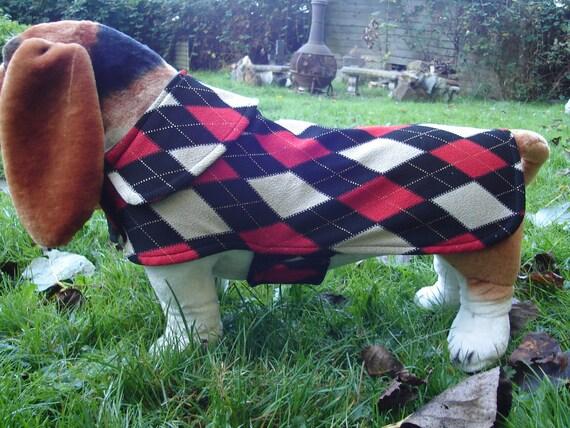 Dog Jacket -  Black Tan and Red Argyle Knit Fabric Dog Coat- Size Medium- 16 to 18  Inch Back Length - Or Custom Size