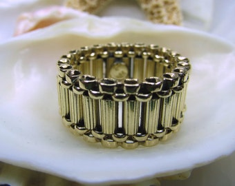14k Column Tube Ring Solid Yellow Gold 5.9g Size 5.5