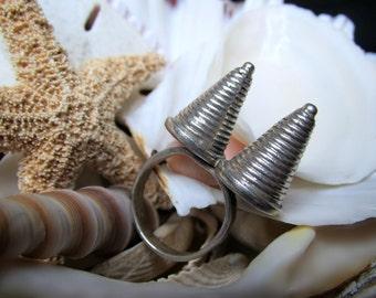 Sterling Silver Madonna's Bullet Bra Ring 10.65g Size 7