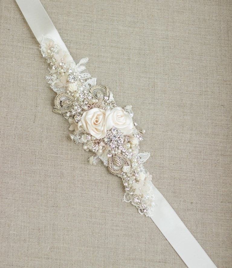 Ivory bridal sash wedding dress belt narrow waist cream for Ivory wedding dress sash