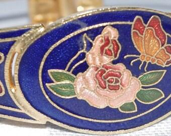 Stunning - Vintage - Enamel Rose and Butterfly - Cloisonne - Bracelet Bangle