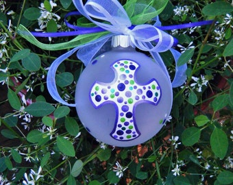Cross Ornament - First Holy Communion, Baptism, Birthday or Memorial - Personalized Hand Painted Glass Ball, Keepsake Bauble, Purple Cross