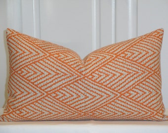 Decorative Pillow Cover - Fits 12 x 20 - Orange - Brown -  Sofa Pillow - Trellis Pillow - Lattice - Geometric