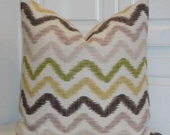 Decorative Pillow Cover - IKAT Zig Zag - Chevron - Green - Brown - Gold - Accent Pillow