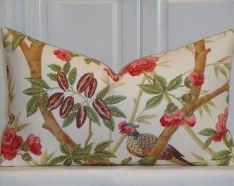 "Lee Jofa - Decorative Pillow Cover - 18x18, 20x20, 15"" x 25"" - Rose - Pink - Red - Green - Birds - Custom Designer Pillow"