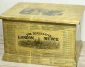 Vintage Wood Box Handmade Wood Chest Decoupage London England Newspaper Large Wood Box