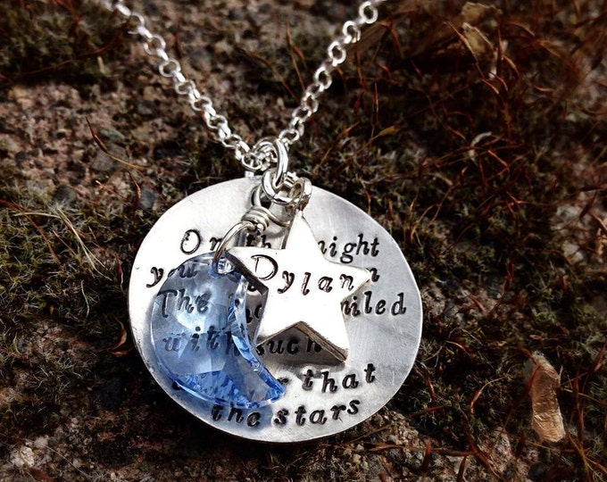 On the night you were born... Necklace...Personalized... star and moon