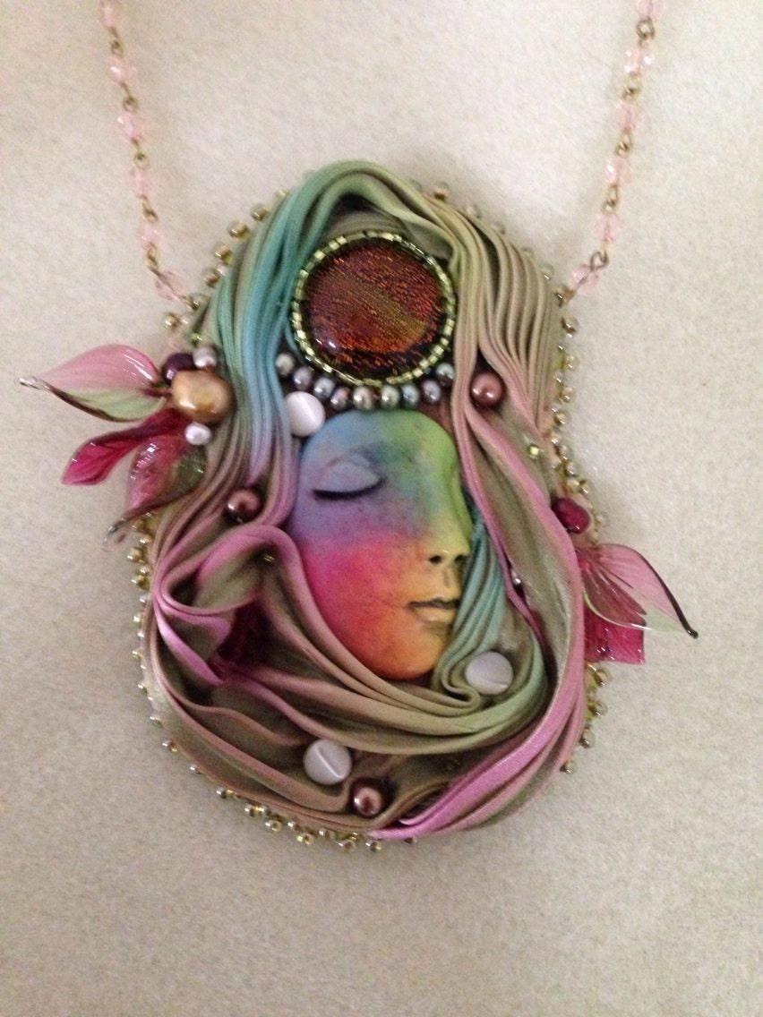 Shibori silk bead embroidery by singingbearcreations on etsy
