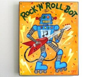 Framed Robot Art Print for Kids, Rock N Roll Bot, 8x10 inch print in a simple black frame. Robot theme nursery decor