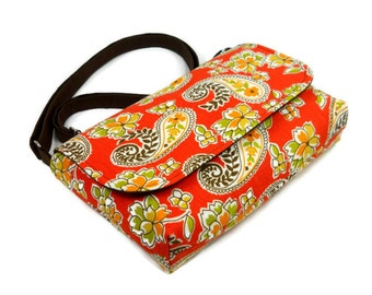 Small Purse, Mini Crossbody Bag, Mini Messenger Bag, Fabric Handbag, Paislies on Burnt Orange, Cotton Cross Body Bag, Shoulder Bag