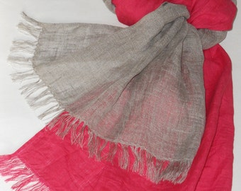 Natural gray coral red linen scarf long original flax shawl for women