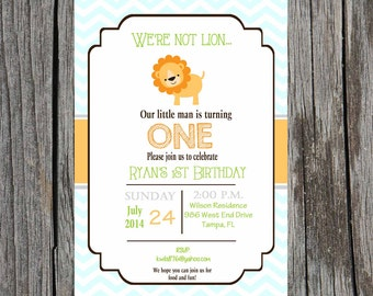 Printed Lion Birthday Invitation, jungle baby shower invitation, Printed set of invitations, baby boy shower
