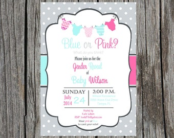 Gender Reveal Party Invitation, blue or pink what do you think gender reveal shower, custom and printable