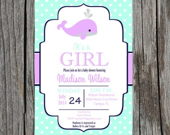 Whale Baby Shower Invitation, nautical baby girl baby shower, whales, custom and printable