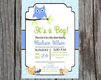 Forest animals Baby Shower invitation, baby shower, gender neutral, boy, girl, forest, woodland creatures