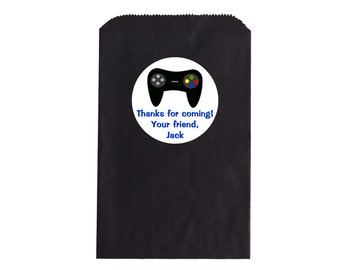 Remote Control Party Favor Bag & Personalized Stickers, Goody Bags, Candy Bags, Set of 12