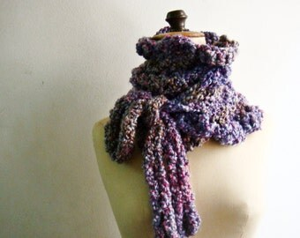 Boucle Bow Tied Cowl Hand Knit Neck Warmer