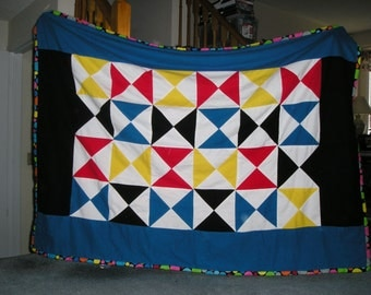Hour Glass Design Flannel and Fleece Lap Top Size Blanket