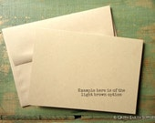 """25 A7 Folded Cards and Envelopes: Blank greeting cards, Kraft brown, light brown, 5 1/8 x 7"""" (130x178mm) or 5x7 cards, 80lb, 100lb or 105lb"""