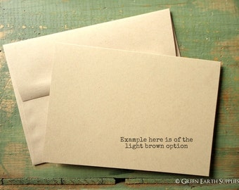 """25 A7 Folded Cards and Envelopes: Blank Greeting Cards, Kraft or Light Brown, 5 1/8 x 7"""" (130x178mm) or 5x7"""", 80lb, 100lb, 105lb or 146lb"""