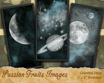 "1""x2"" Stars and Planets Celestial Domino Tiles Digital Collage Sheet"
