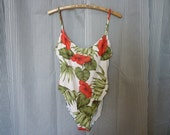 vintage 90's ANNE KLEIN tropical floral bather