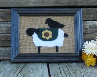 Primitive Sheep and Crow Framed  Folk Art