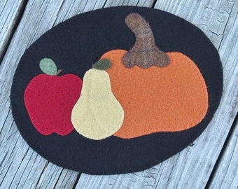 Fruits of Fall Autumn Harvest Penny Rug Candle Mat