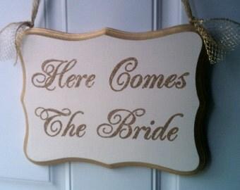 Wedding Sign GLITTER Gold Wedding Decoration Here Comes The Bride Wood Sign Flower Girl Sign Ring Bearer Sign