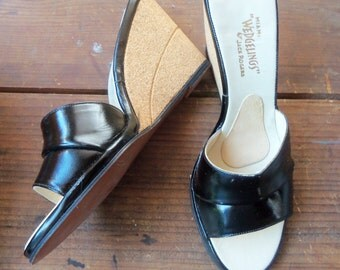 60s JACK ROGERS WEDGELINGS--Black Patent and Cork Wedges--Never Worn with Box--Size 7.5N