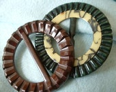 TWO Vintage ART DECO Belt Buckles Cast Early Plastic Buckle 100% Original Marblelized Green & Brown