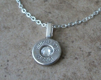 "Winchester 45 Colt Nickel Bullet Casing Necklace, Lightweight Thin Cut, Clear Swarovski Crystal, Sterling Silver 18"" Cable Chain - 380"