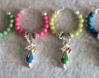 Wine Glass Charm, Wine Glass Marker, Summer, Tropical Drink, Party Accessory, Winery Gift, Set of 4 - TROPICAL VACATION